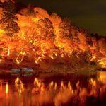 水面に映る赤い色、香嵐渓2016の紅葉の見ごろ時期とアクセス方法